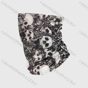 دستمال سر مدل skull black and white