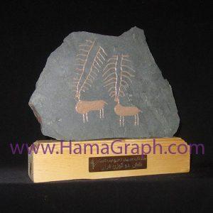 تندیس سنگ نگاره طرح دو گوزن مرال کد 8488