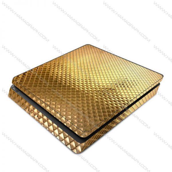 اسکین طلایی برجسته gold 2 | اسکین طلایی براق ps4 قابل سفارش برای مدلهای pro و fat و slim با بهترین کیفیت در هاماگراف. اسلیم. پرو. فت. معمولی اسکین ایکس باکس
