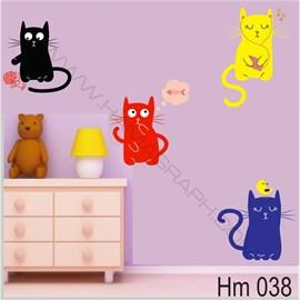 استیکر دیواری اتاق کودک گربه Hm 038