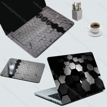 اسکین کامل لپ تاپ black hexagonals - اسکین شش ضلعی سیاه - اسکین