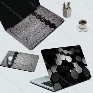 ست اسکین لپ تاپ و موس پد black hexagonals | ست اسکین لپ تاپ و موس پد اسکین کیبورد با بهترین کیفیت دو زبا فارسی و انگلیسی برچسب کیبورد اسکین پشت لپ تاپ