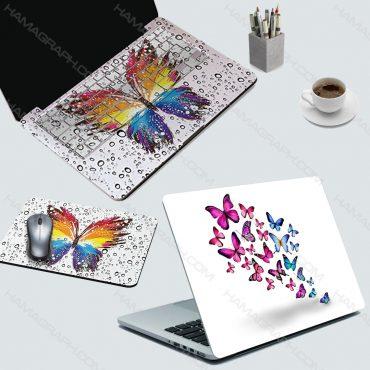 اسکین کامل لپ تاپ flying angels - اسکین طرح پروانه رنگارنگ - اسکین