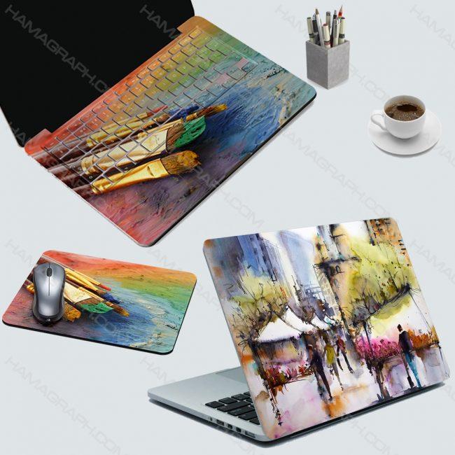 ست اسکین لپ تاپ و استراحتگاه و موس پد طرح lets painting | ست اسکین لپ تاپ ، اسکین استراحتگاه و اسکین کیبورد با طرح دلخواه | اسکین لپ تاپ | اسکین دو لایه