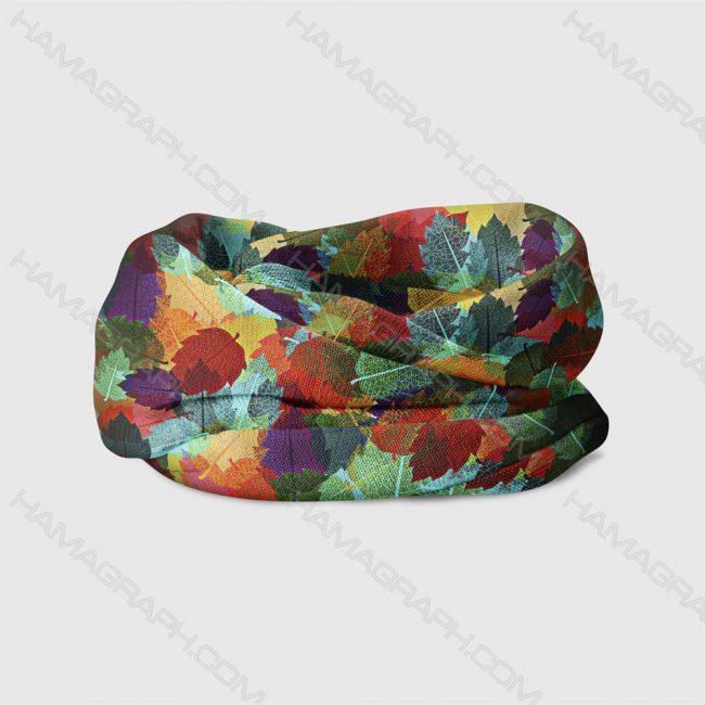 هدبند طرح colorful fall - هدبند طرح برگ پاییزی - دستمال سر - هدبند