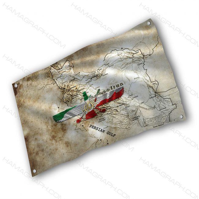 پرچم پارچه ای با طرح iran historic - پرچم طرح ایران باستان - خرید پرچم - پرچم
