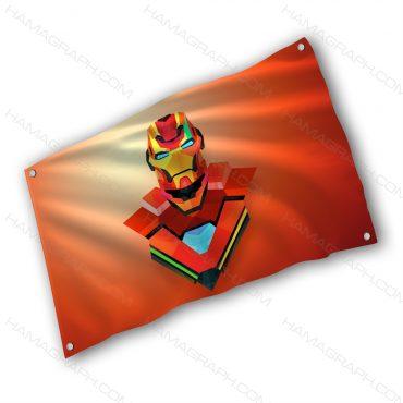 پرچم پارچه ای با طرح ironman - پرچم طرح مرد آهنی - خرید پرچم - پرچم