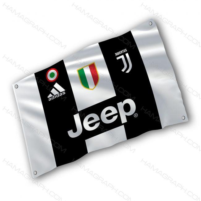 پرچم پارچه ای با طرح juventus - پرچم طرح یوونتوس - خرید پرچم - پرچم