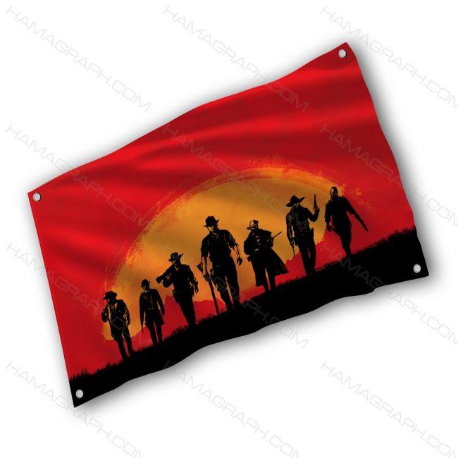 پرچم پارچه ای با طرح reddead - پرچم طرح رد دد ریدمپشن - خرید پرچم - پرچم