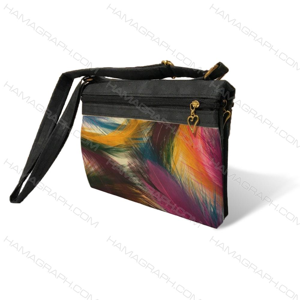 کیف دوشی زنانه با طرح feather - کیف زنانه طرح پر پرنده