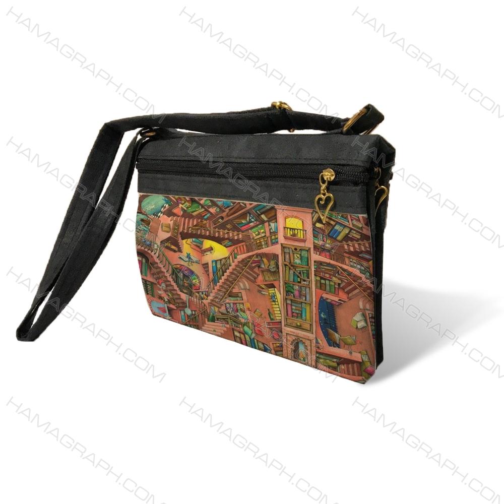 کیف دوشی زنانه با طرح funny wall - کیف زنانه طرح کتابخانه