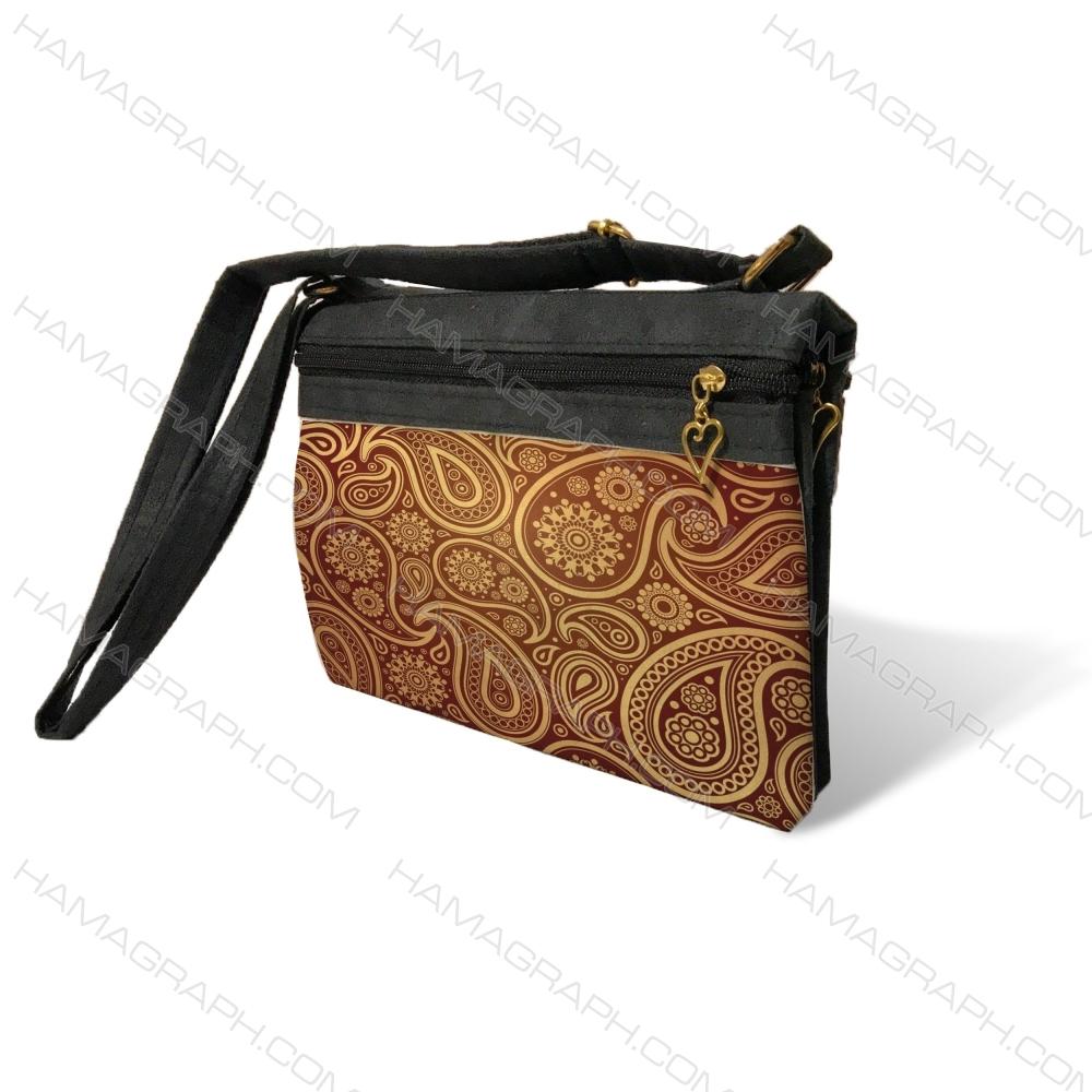 کیف دوشی زنانه طرح gold slimy - کیف زنانه بته جقه طلایی