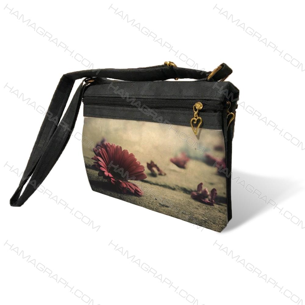 کیف دوشی زنانه با طرح love flower - کیف زنانه طرح گل سرخ