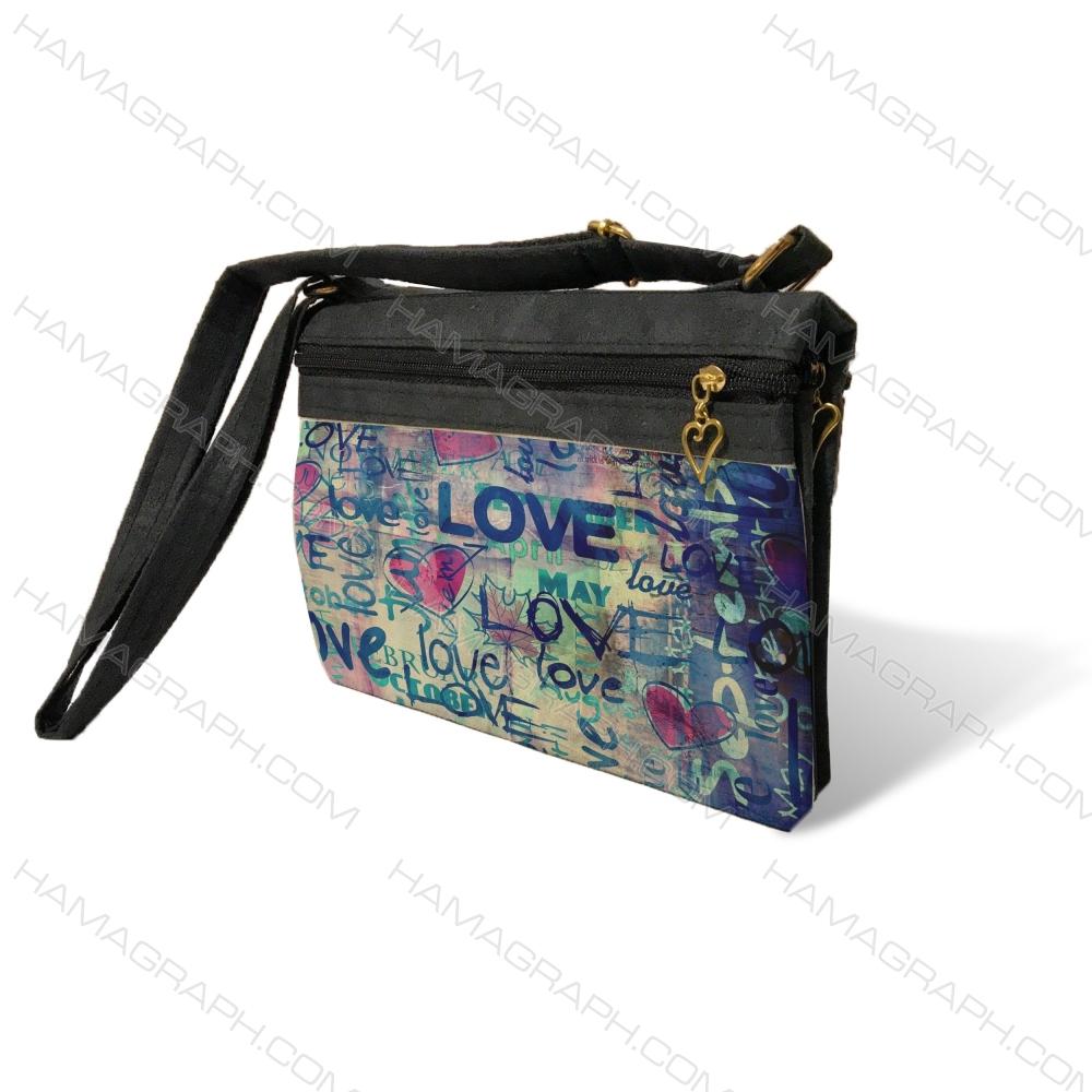کیف دوشی زنانه طرح love pat 3