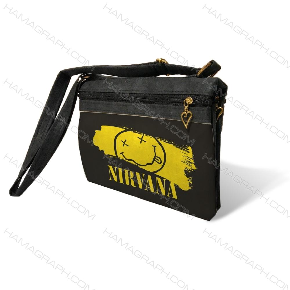 کیف دوشی زنانه با طرح nirvana