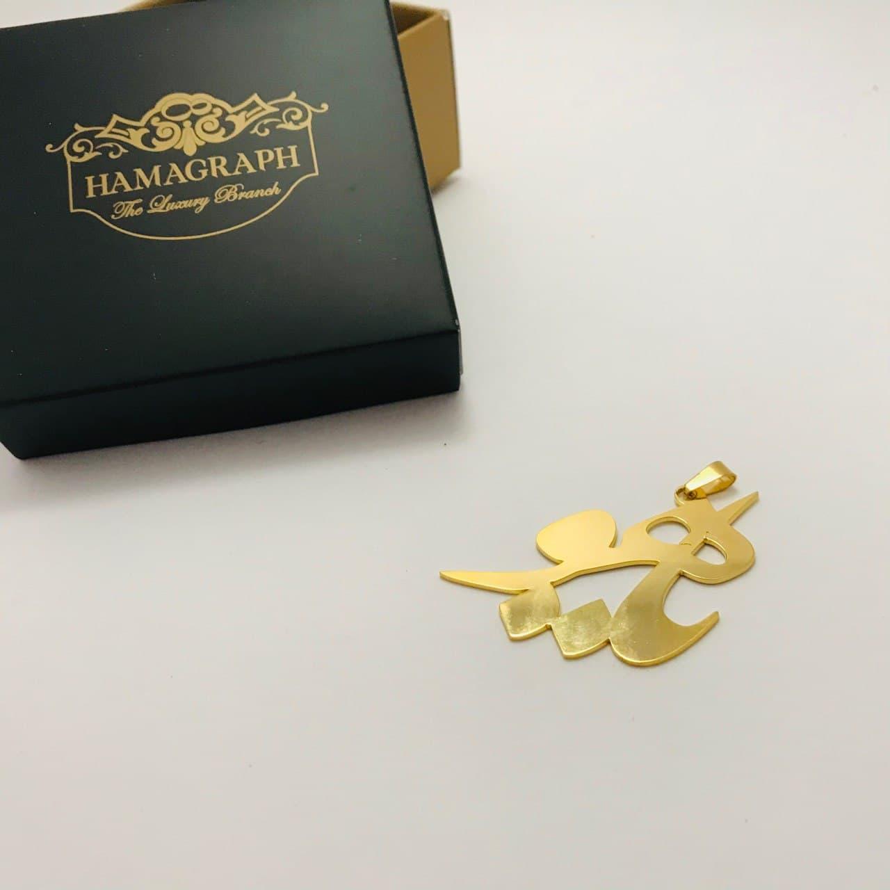 گردنبند آبکاری طلایی با طرح یاهو - آویز آبکاری شده - استیل ضد زنگ
